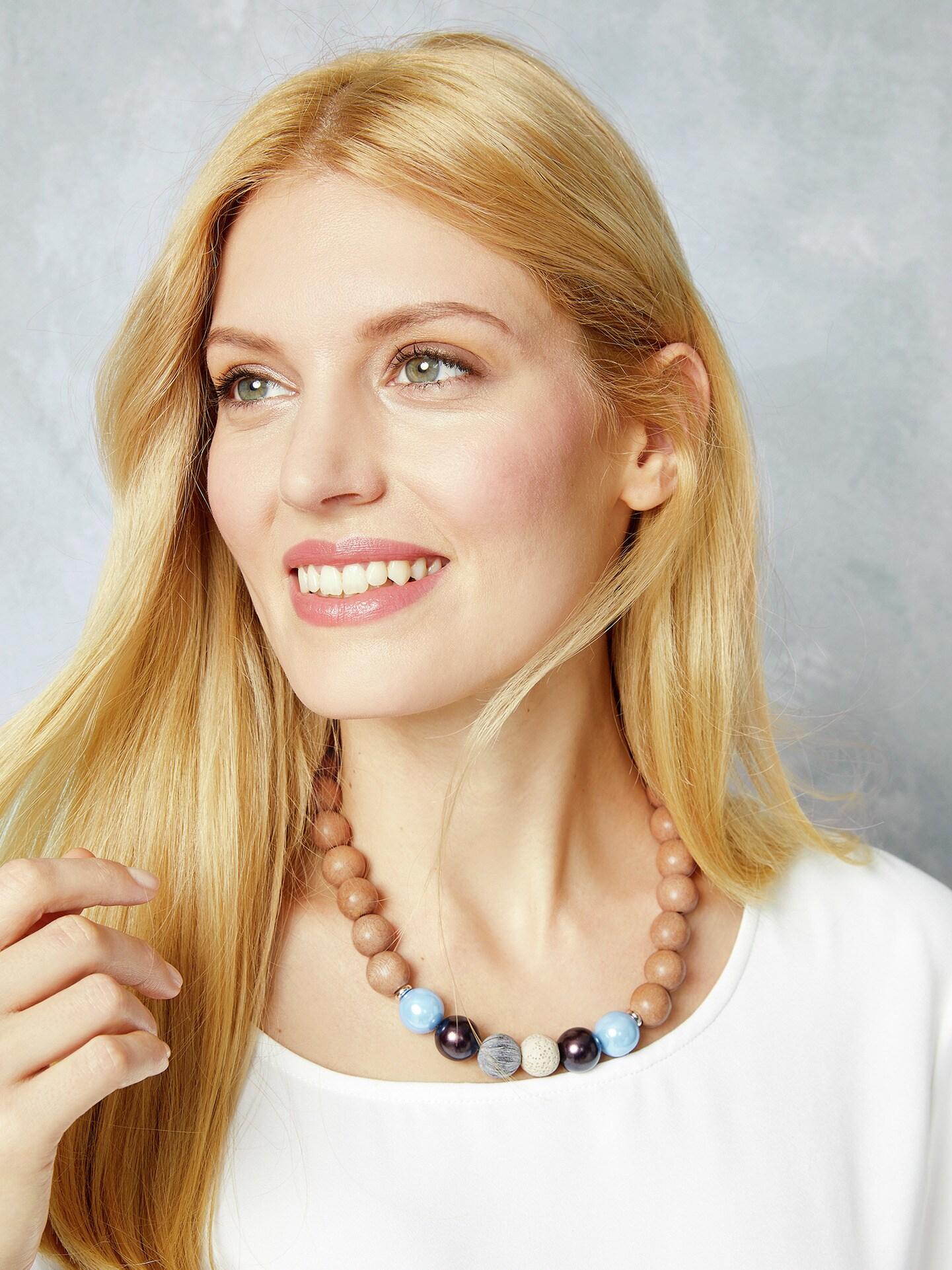 Walbusch Damen Perlenkette Contraste Blau Größe 01