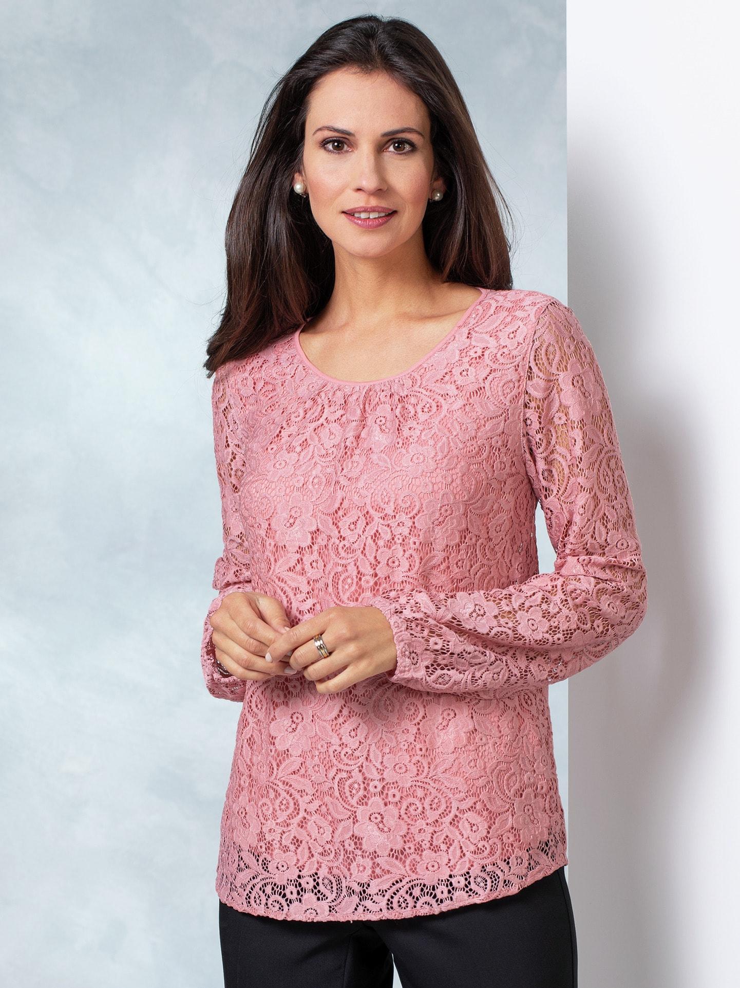 Walbusch Damen Bluse mit Spitze einfarbig Rose 36, 38, 40, 42, 44, 46, 48, 50, 52 55-1639-1