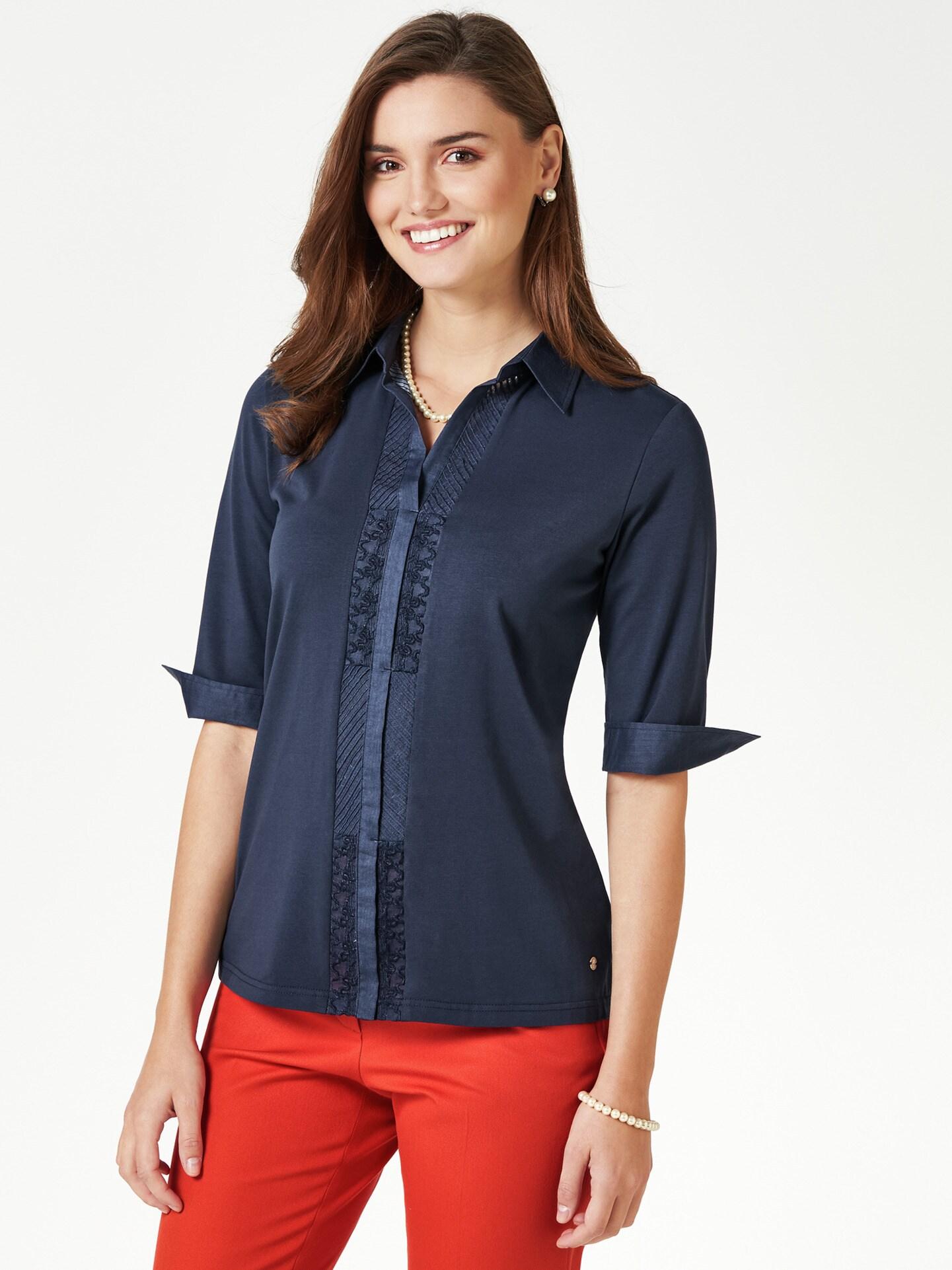 Walbusch Damen Jersey Bluse Exquisit einfarbig Marine 36, 38, 40, 42, 44, 46, 48, 50, 52 51-2689-9