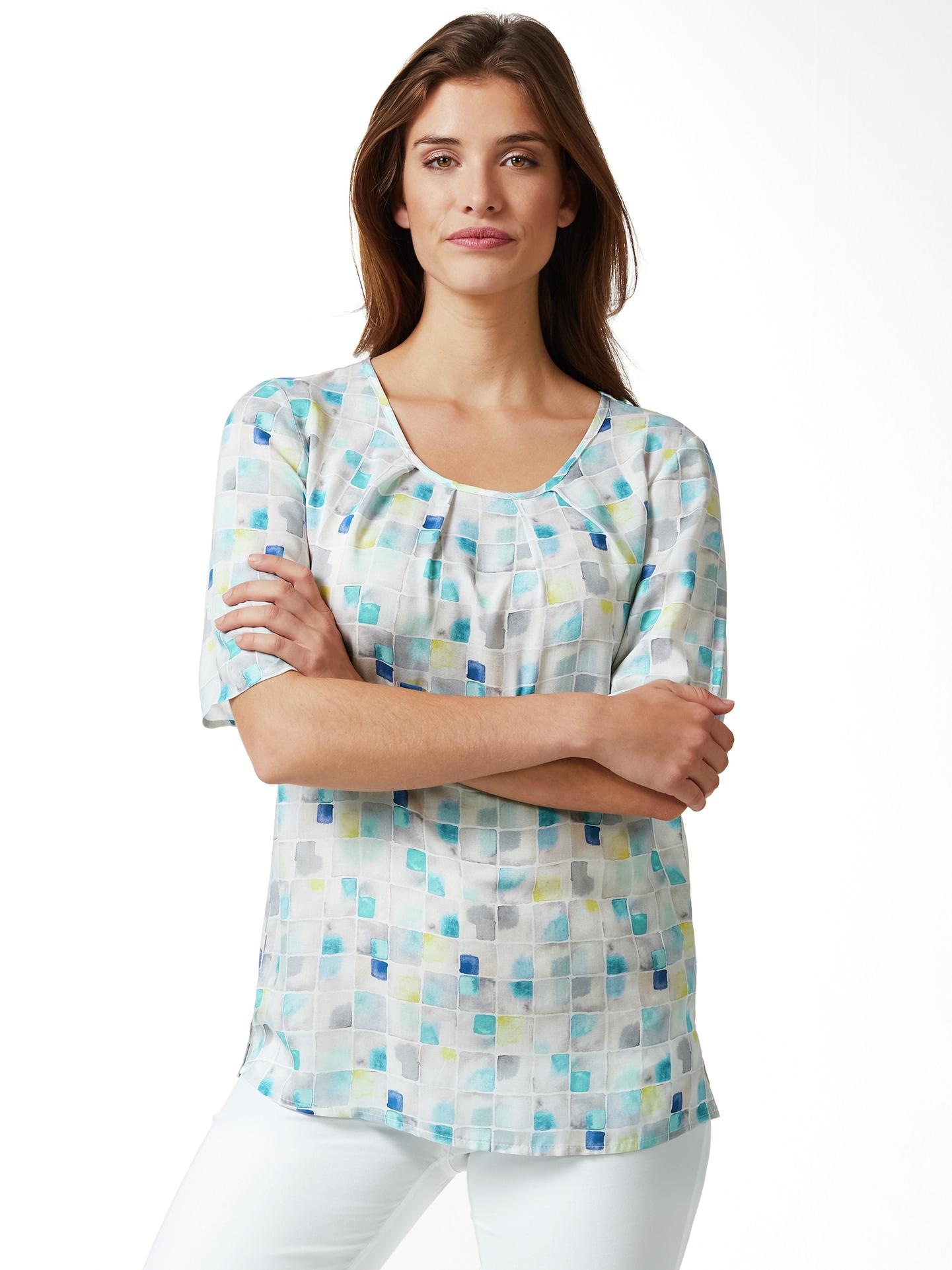 Walbusch Damen Shirtbluse Porcellana bedruckt Aqua 36, 38, 40, 42, 44, 46, 48, 50, 52 51-2723-0
