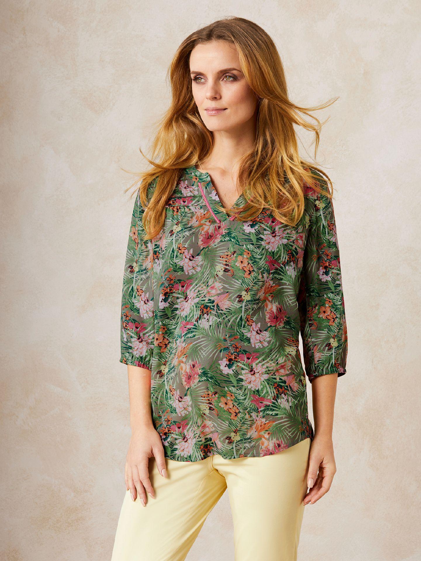 Walbusch Damen Shirtbluse Tropenzauber Grün Größe 42 - Kurzarm