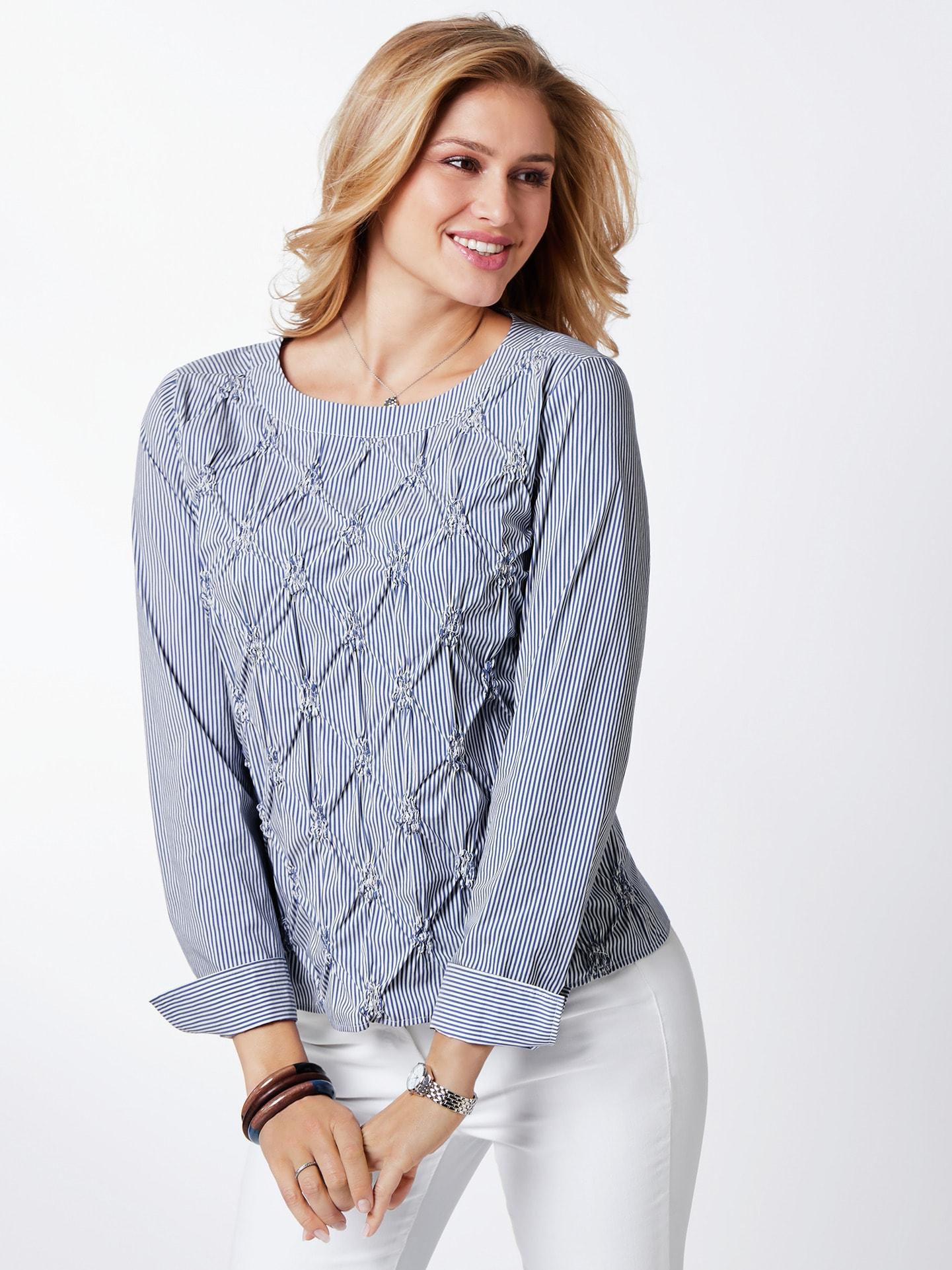 Walbusch Damen Blusenshirt normale Größen Blau gestreift 36, 38, 40, 42, 44, 46, 48, 50, 52 55-2821-9_MV36608