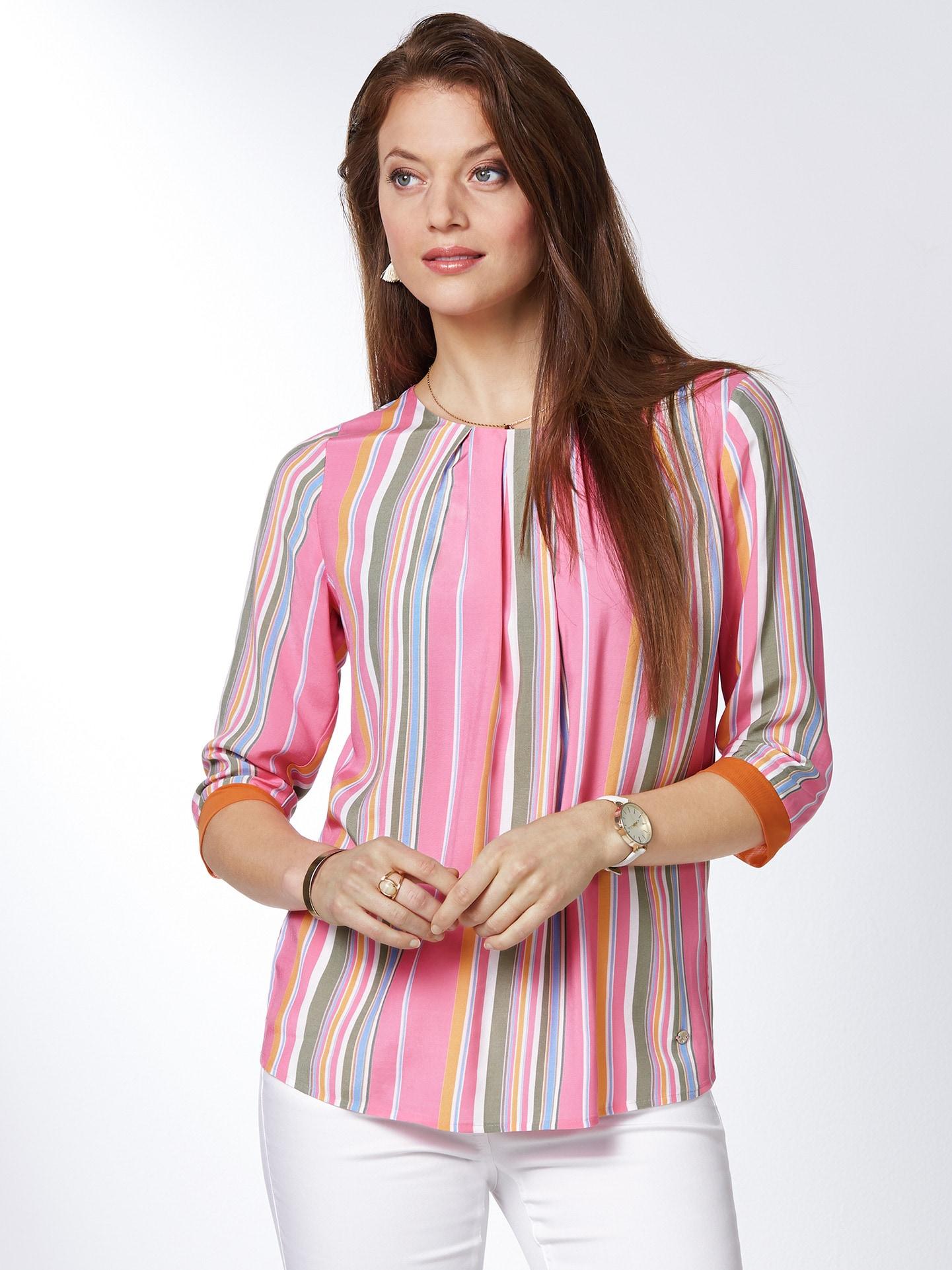 Walbusch Damen Blusenshirt normale Größen Orange gestreift 36, 38, 40, 42, 44, 46, 48, 50, 52 51-2835-0_MV36608