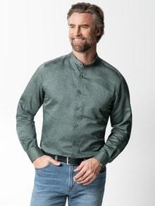 Stehkragen-Leinenhemd