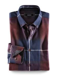 Flanell-Hemd Cashmere-Blend Blau/Weinrot Detail 1