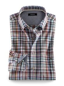 Baumwoll-Seiden-Hemd Streifenkaro Detail 1