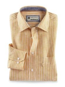 Irisches Leinenhemd Clubstr. Gelb Detail 1