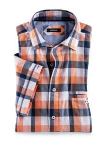 Crashoptik-Hemd Sommerbrise Orange/Blau kar. Detail 1