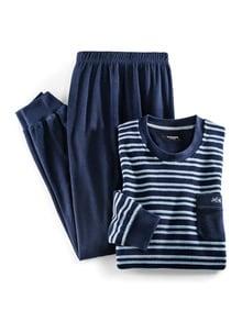 Frotteestreifen-Schlafanzug