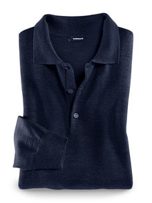 Merino-Mix Polo-Pullover Marine Detail 1