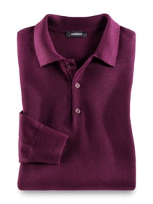 Merino-Mix Polo-Pullover Beere Detail 1