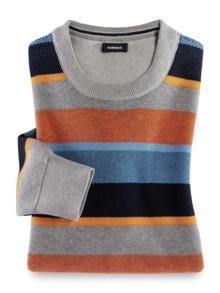 Streifen-Pullover Soft Cotton Azur/Orange Detail 1