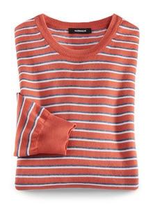 Leicht-Pullover Sommerringel Orange Detail 1