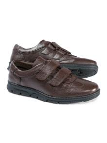 Hirschleder Doppelklett-Sneaker Braun Detail 1