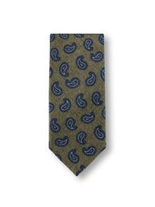 Paisley-Wollkrawatte Oliv/Blau Detail 1