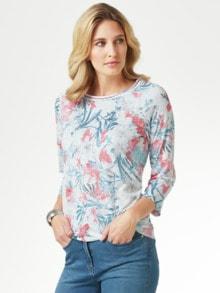 Shirt Aquarellblume Offwhite gem. Detail 1