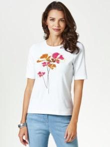T-Shirt Frühlingsblume Mandarine/Fuchsia Detail 1