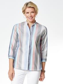 Pima-Cotton-Hemdbluse Streifen Blau Detail 1