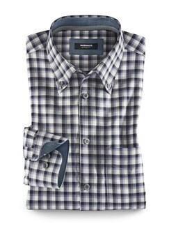Extraglatt-Hemd Soft Twill Karo Blau/ Grau Detail 1