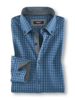 Softcotton Hemd Vichykaro Jeansblau Detail 1