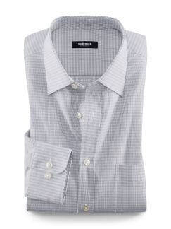 Extraglatt-Hemd Streifenkaro Grau Detail 1