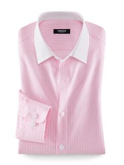 Extraglatt-Hemd Milano-Streifen Rose Detail 1