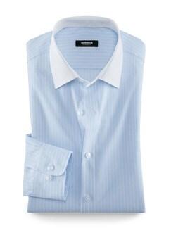 Extraglatt-Hemd Milano-Streifen Hellblau Detail 1