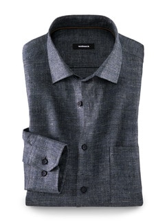 Herbstleinen-Hemd Bergamo Uni Blau Detail 1