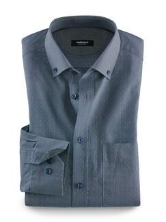 Softcotton-Hemd Minimal Blau/Gelb Detail 1