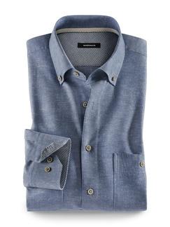 Baumwoll-Seiden-Hemd Uninah Blau Detail 1
