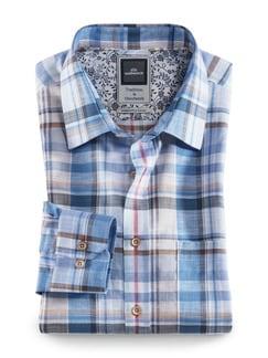 Baumwoll-Leinen-Hemd Karo Blau/Beige Detail 1