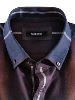 Flanell-Hemd Cashmere-Blend Blau/Weinrot Detail 3