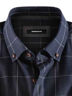 Flanell-Hemd Cashmere-Blend Karo Blau Detail 3