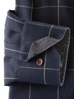 Flanell-Hemd Cashmere-Blend Karo Blau Detail 4