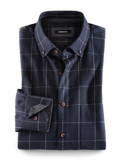 Flanell-Hemd Cashmere-Blend Karo Blau Detail 1