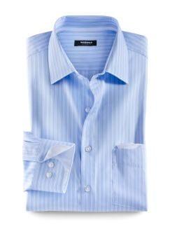 Extraglatt-Travel-Hemden Streifen H Blau Detail 1
