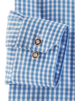 Stehkragen Wiesenhemd Karo Blau Detail 4