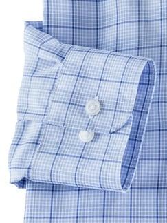Extraglatt-Hemd Walbusch-Kragen Karo Azur Detail 4