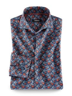 Liberty-Hemd Print Blau/Orange Detail 1