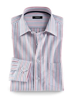 Extraglatt-Hemd Oxford Streifen Rot Detail 1