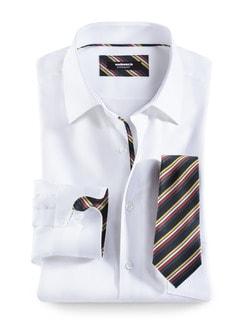 Extraglatt-Krawatten-Hemd Oxford Weiß Detail 1