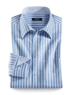 Extraglatt-Strukturhemd Streifen Blau Detail 1