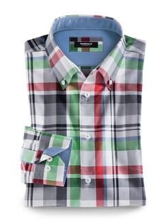Extraglatt-Hemd Button Down Karo Rot/Gruen Detail 1