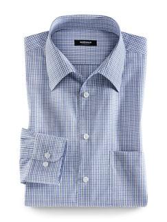 Extraglatt-Hemd Walbusch-Kragen Karo Blau Detail 1