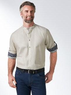 Leinen-Trachtenhemd Beige Detail 2