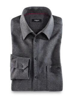 Moleskin-Hemd Uni Grau Detail 1