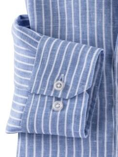 Irisches Leinenhemd Clubstreifen Blau Detail 4