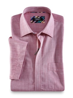 Reißverschluss-Hemd Easycare Uni Rot Detail 1