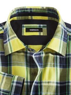 Crashoptik-Hemd Sommerkaro Blau/Gelb Detail 3