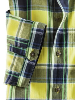Crashoptik-Hemd Sommerkaro Blau/Gelb Detail 4
